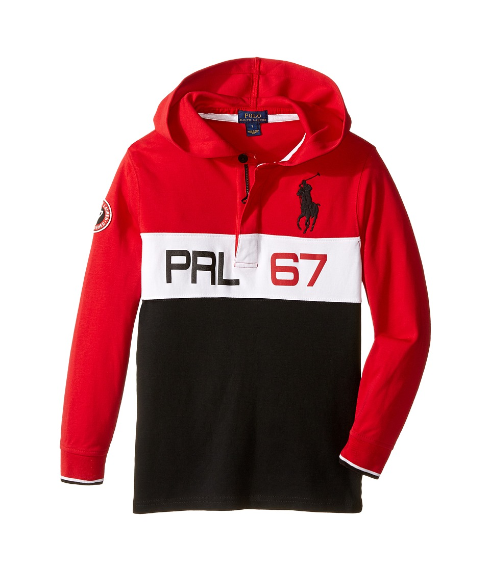 Polo Ralph Lauren Kids - Jersey Long Sleeve Hooded Rugby (Little Kids/Big Kids) (Cruise Red) Boy's Long Sleeve Pullover