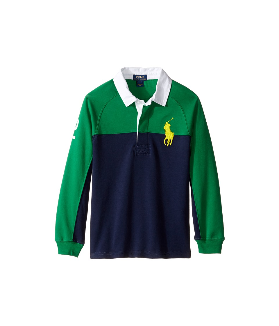 Polo Ralph Lauren Kids - Jersey Raglan Rugby (Little Kids/Big Kids) (Parrot Green) Boy's Long Sleeve Pullover