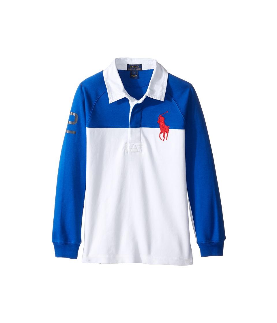 Polo Ralph Lauren Kids - Jersey Raglan Rugby (Little Kids/Big Kids) (Sapphire Star) Boy's Long Sleeve Pullover