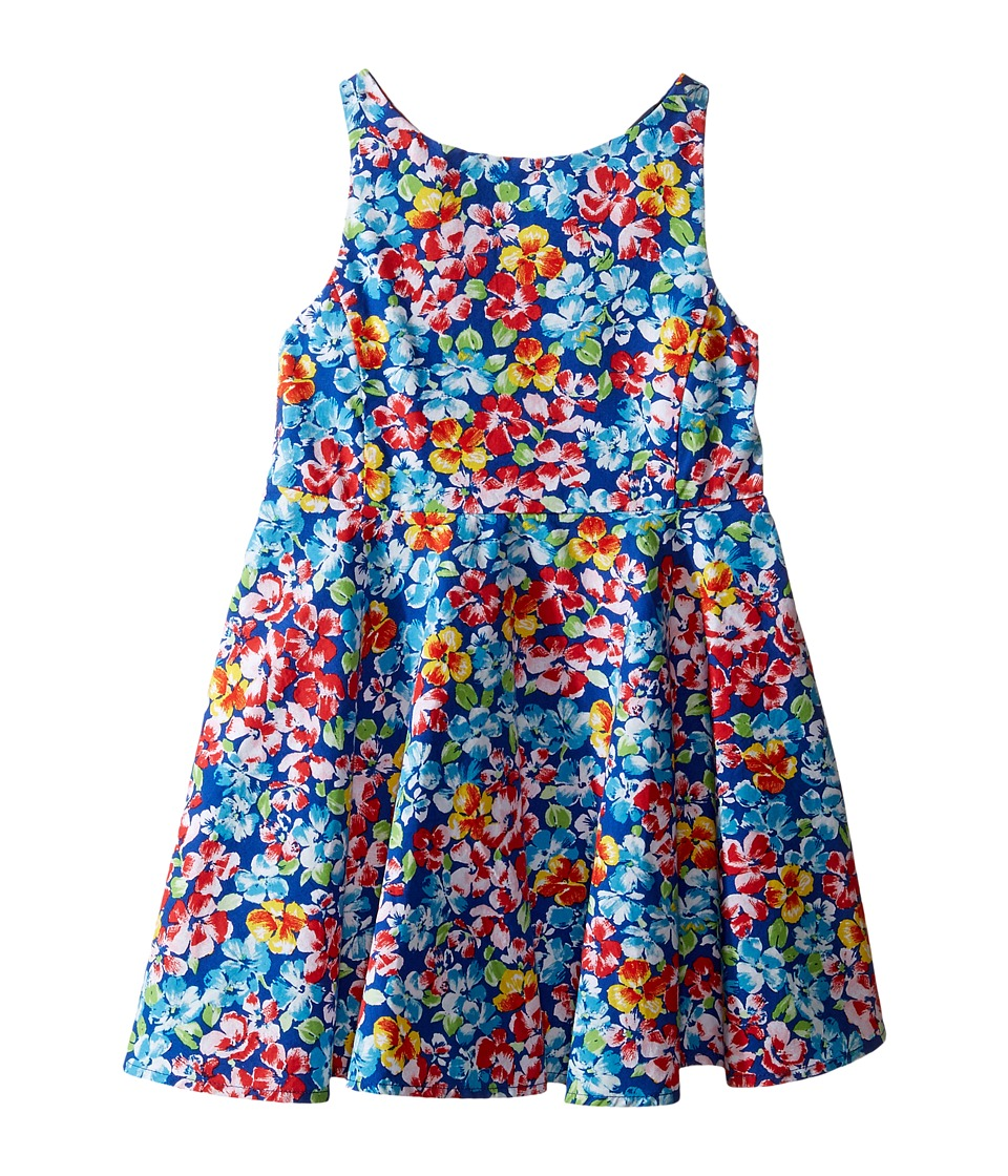 Polo Ralph Lauren Kids - Poly Twill Fit and Flare Dress (Toddler) (Royal/Pink Multi) Girl's Dress