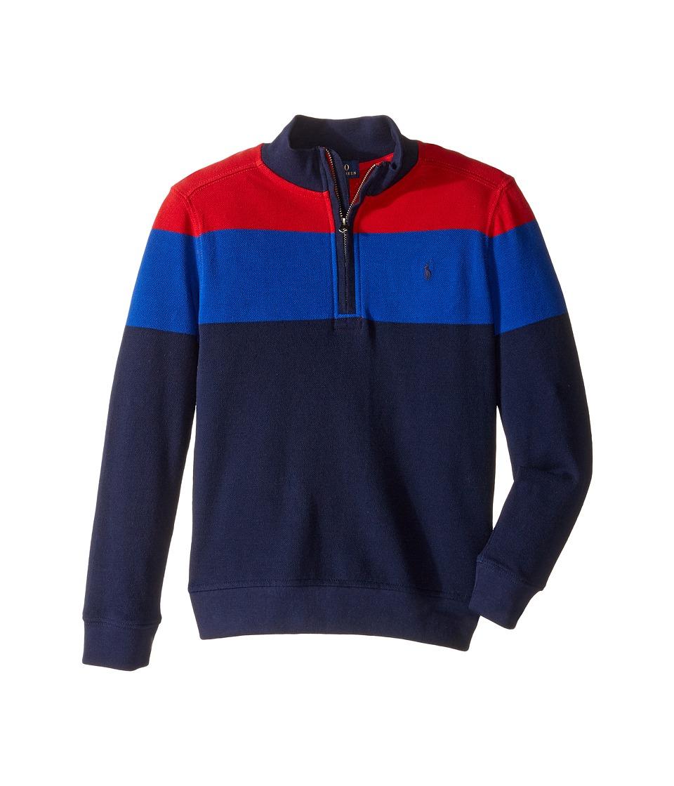 Polo Ralph Lauren Kids - Yarn-Dyed Long Sleeve 1/2 Zip (Little Kids/Big Kids) (Cruise Red) Boy's Long Sleeve Pullover