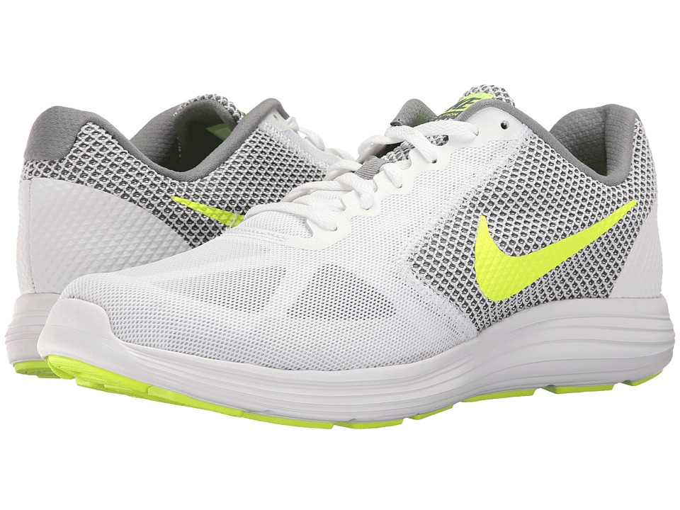 Nike - Revolution 3 (White/Volt/Cool Grey) Men's Running Shoes