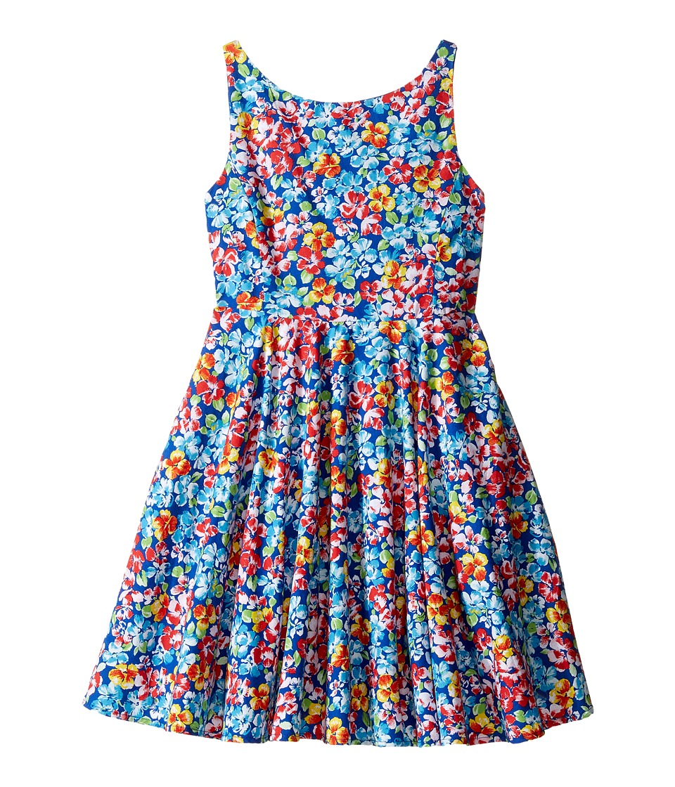 Polo Ralph Lauren Kids - Poly Twill Fit and Flare Dress (Little Kids) (Royal/Pink Multi) Girl's Dress