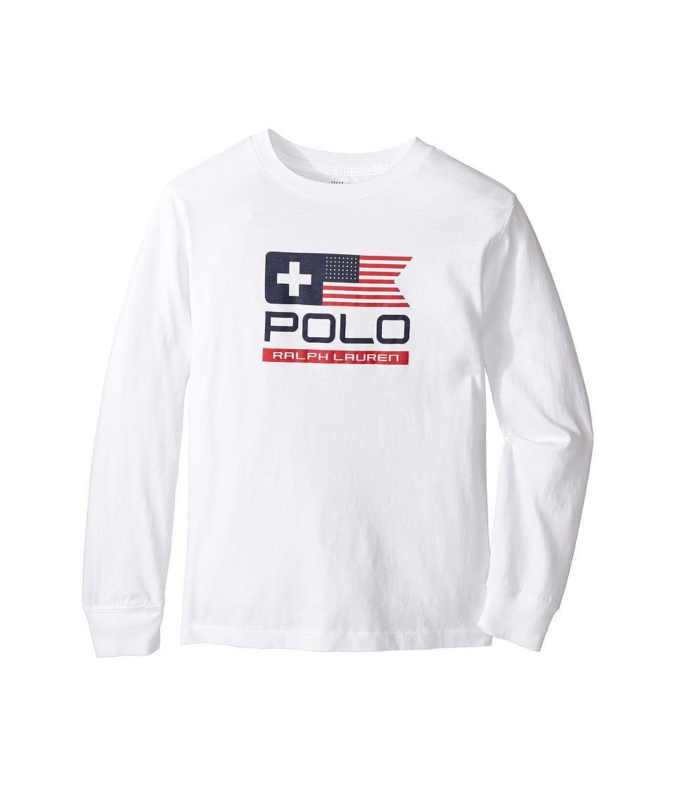 Polo Ralph Lauren Kids - Basic Jersey Graphic T-Shirt (Little Kids/Big Kids) (White) Boy's T Shirt