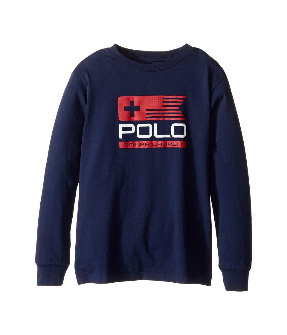 Polo Ralph Lauren Kids - Basic Jersey Graphic T-Shirt (Little Kids/Big Kids) (French Navy) Boy's T Shirt