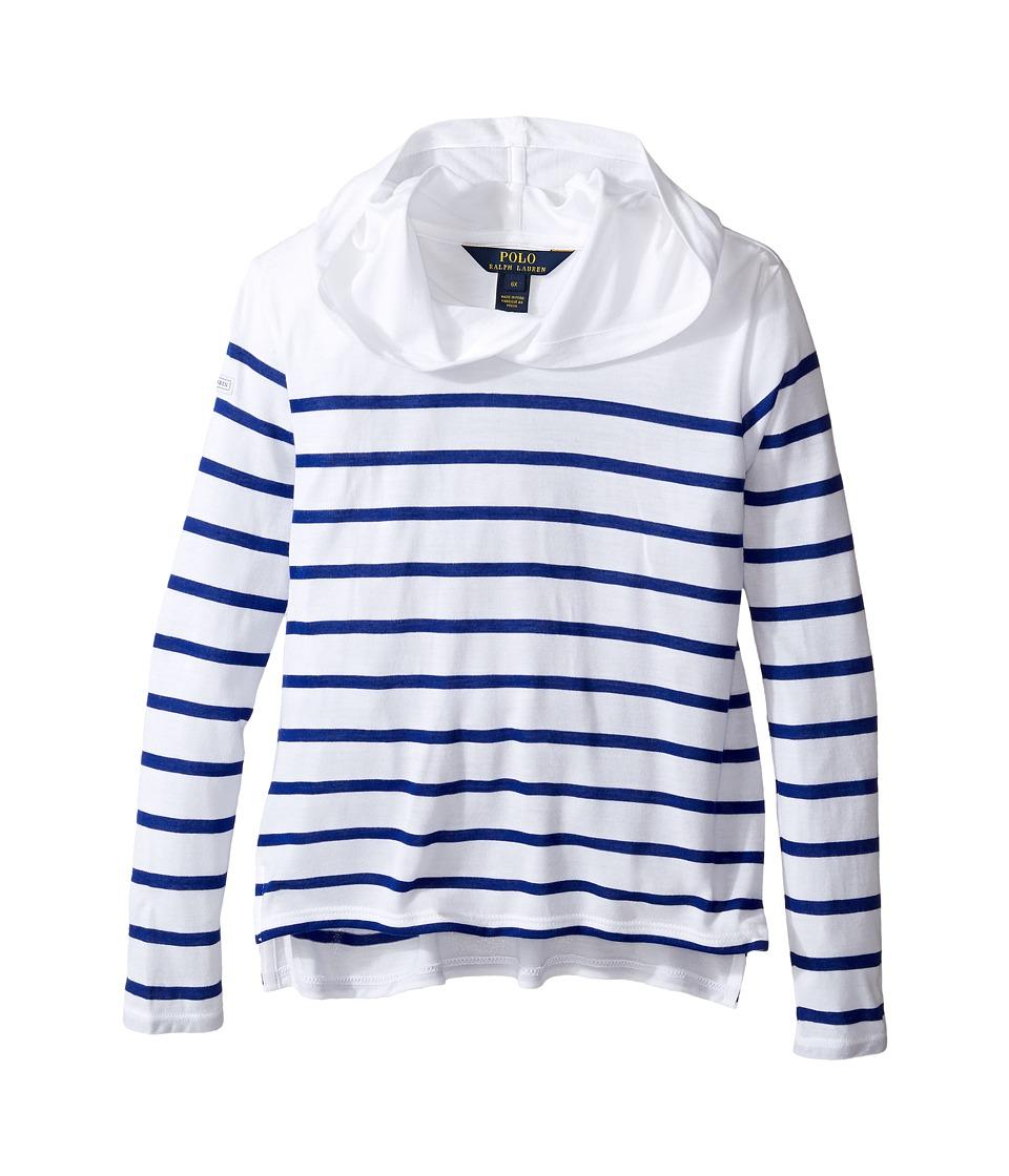 Polo Ralph Lauren Kids - Jersey Stripe Hoodie (Little Kids) (White/Active Royal) Girl's Sweatshirt