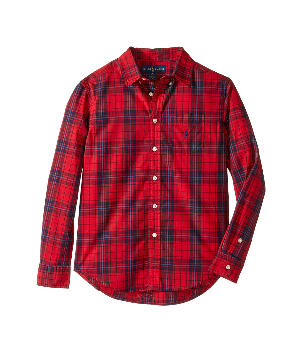 Polo Ralph Lauren Kids - Poplin Long Sleeve Button Down Shirt (Big Kids) (Red/Navy Multi) Boy's Long Sleeve Button Up