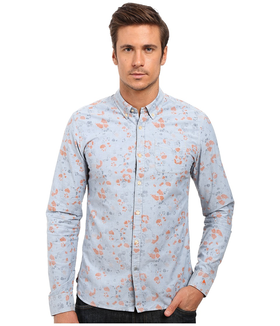 Scotch & Soda - All Over Printed One-Pocket Shirt (Blue) Men's Long Sleeve Button Up