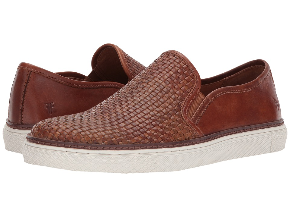 Frye - Gates Woven Slip-On (Cognac Antique Pull Up/Pressed Full Grain) Men's Slip-on Dress Shoes