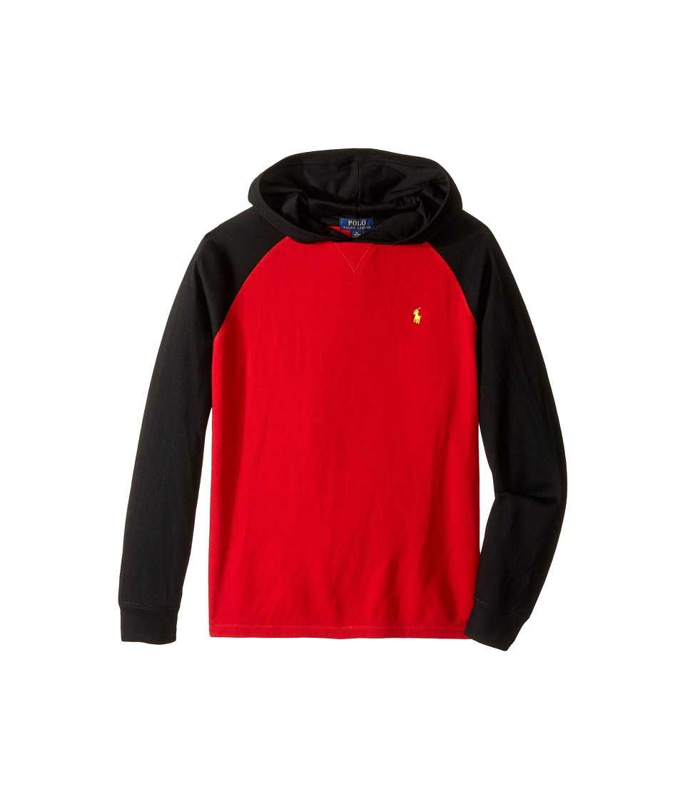 Polo Ralph Lauren Kids - Waffle Long Sleeve Hooded Pullover (Big Kids) (Cruise Red) Boy's Long Sleeve Pullover