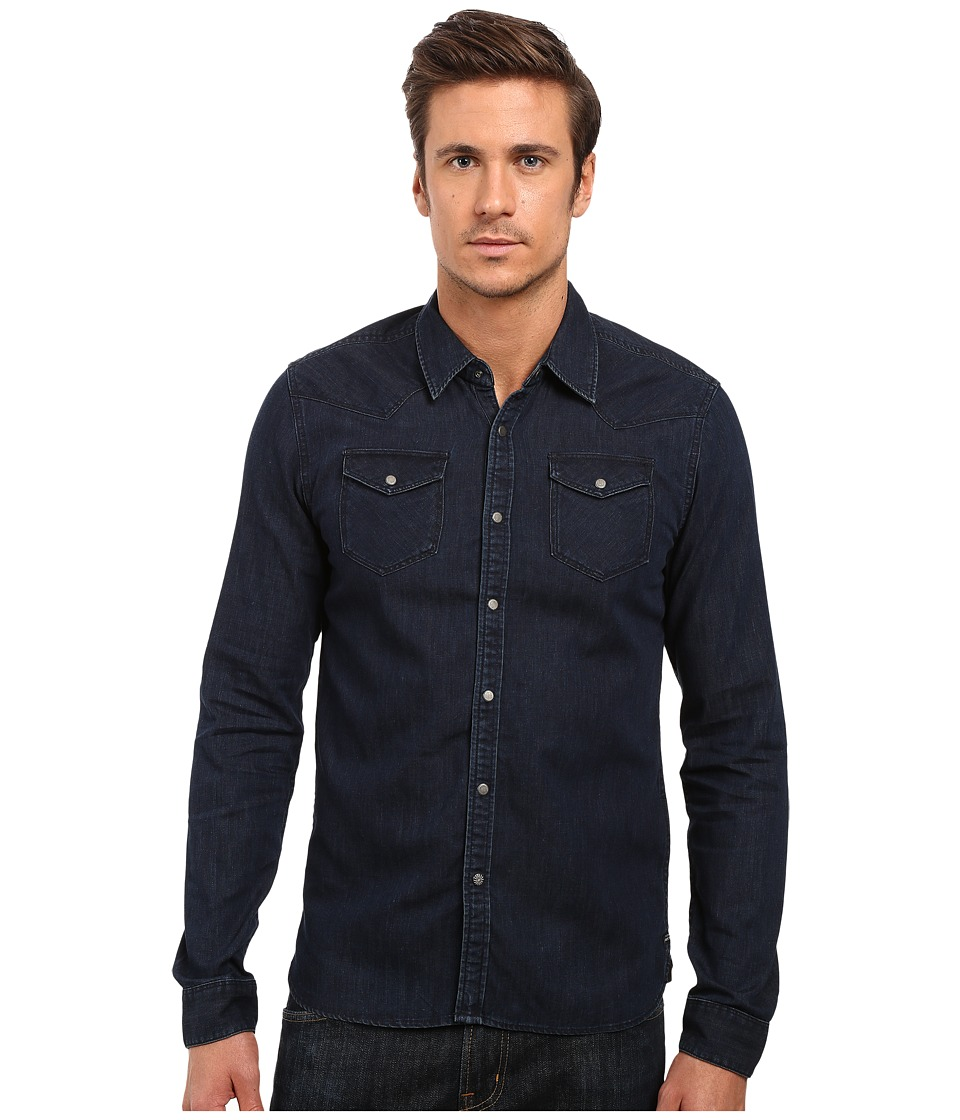 Scotch & Soda - Denim Western Shirt (Indigo) Men's Long Sleeve Button Up