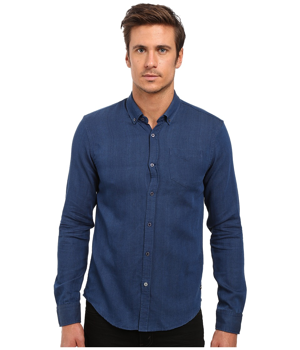 Scotch & Soda - One-Pocket Denim Look Shirt (Navy) Men's Long Sleeve Button Up