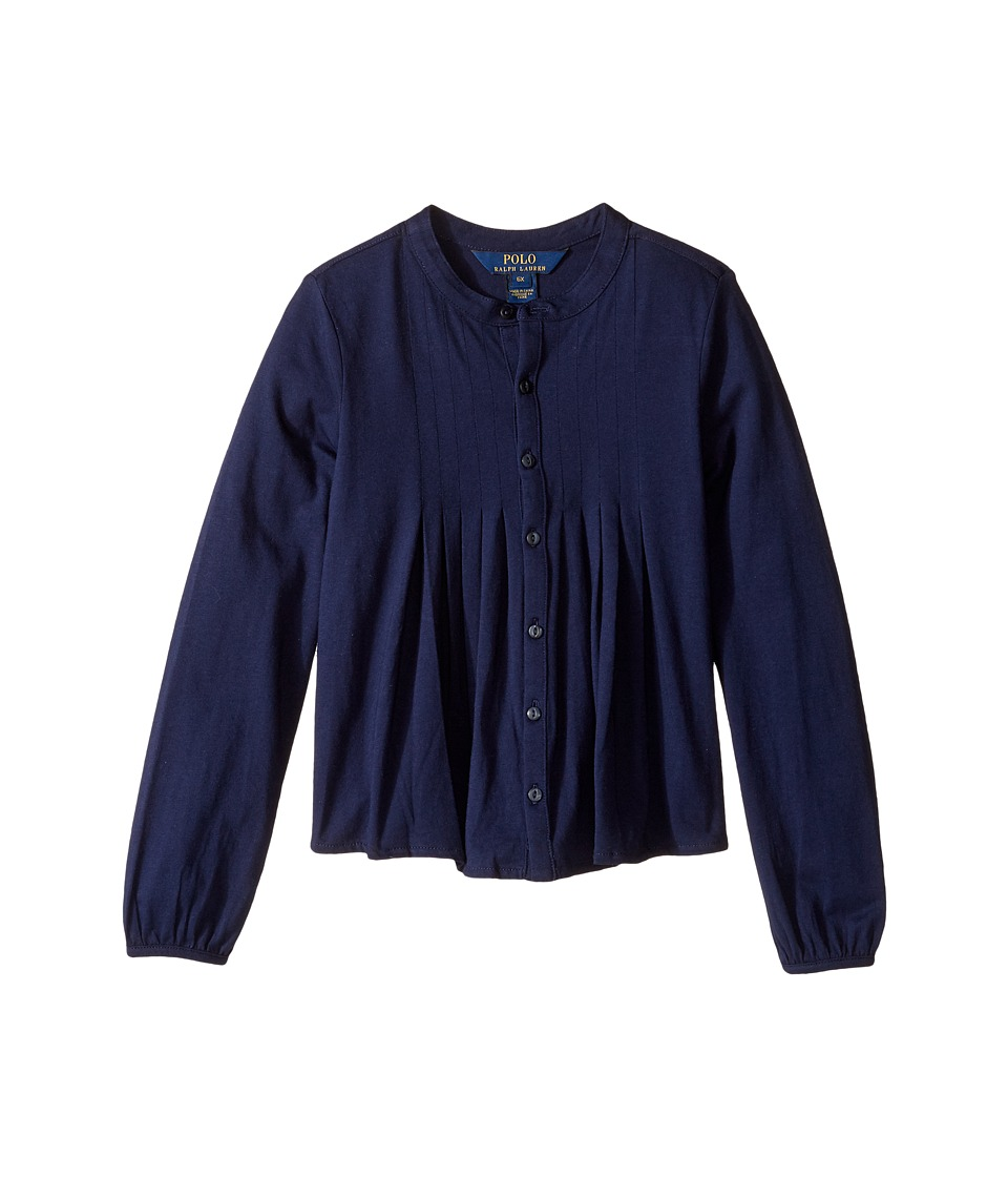 Polo Ralph Lauren Kids - Long Sleeve Pleated Top (Little Kids) (French Navy) Girl's Clothing