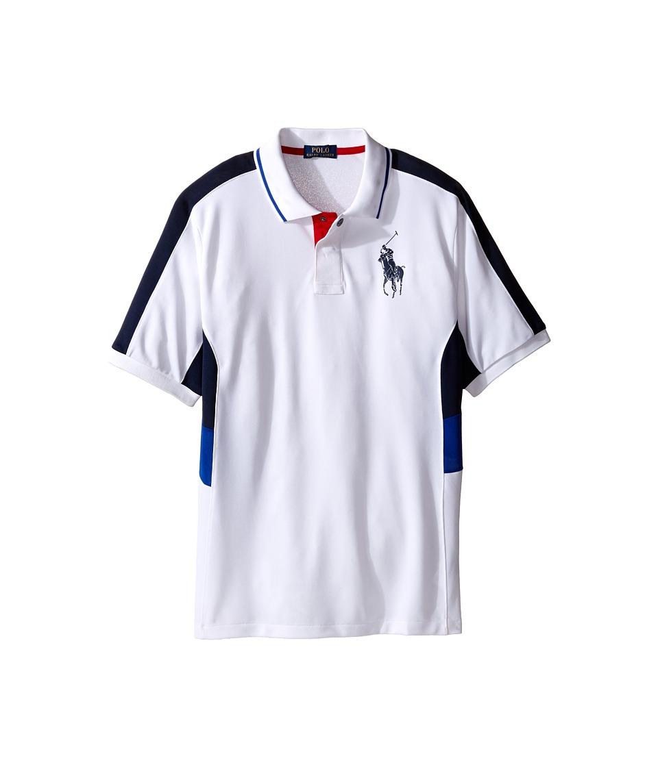 Polo Ralph Lauren Kids - Tech Mesh Pieced Polo (Big Kids) (White) Boy's Short Sleeve Knit
