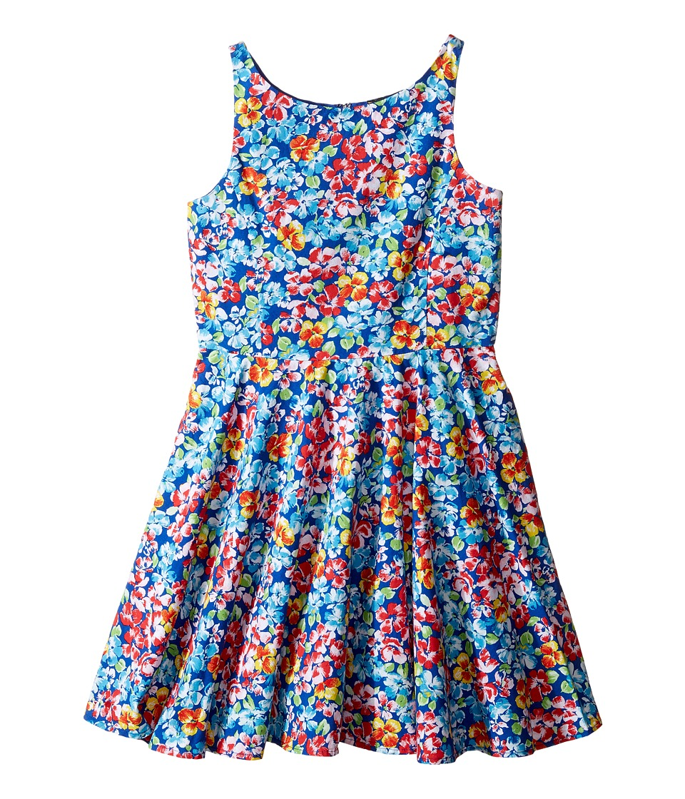 Buy Polo Ralph Lauren Kids Poly Twill Fit and Flare Dress Big Kids Royal-Pink Multi Girls Dress - shop Polo Ralph Lauren Kids dresses