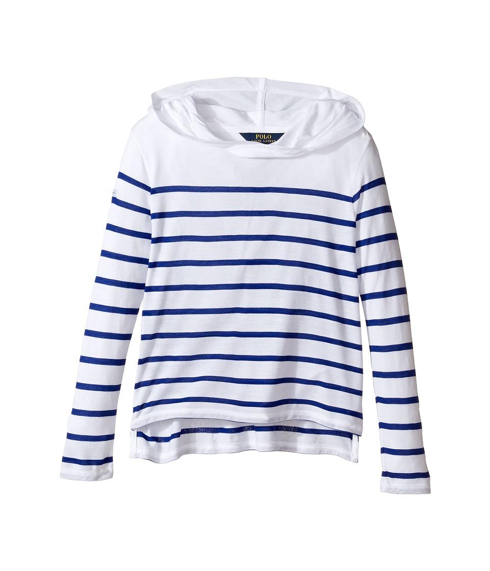 Polo Ralph Lauren Kids - Jersey Stripe Hoodie (Little Kids/Big Kids) (White/Active Royal) Girl's Sweatshirt