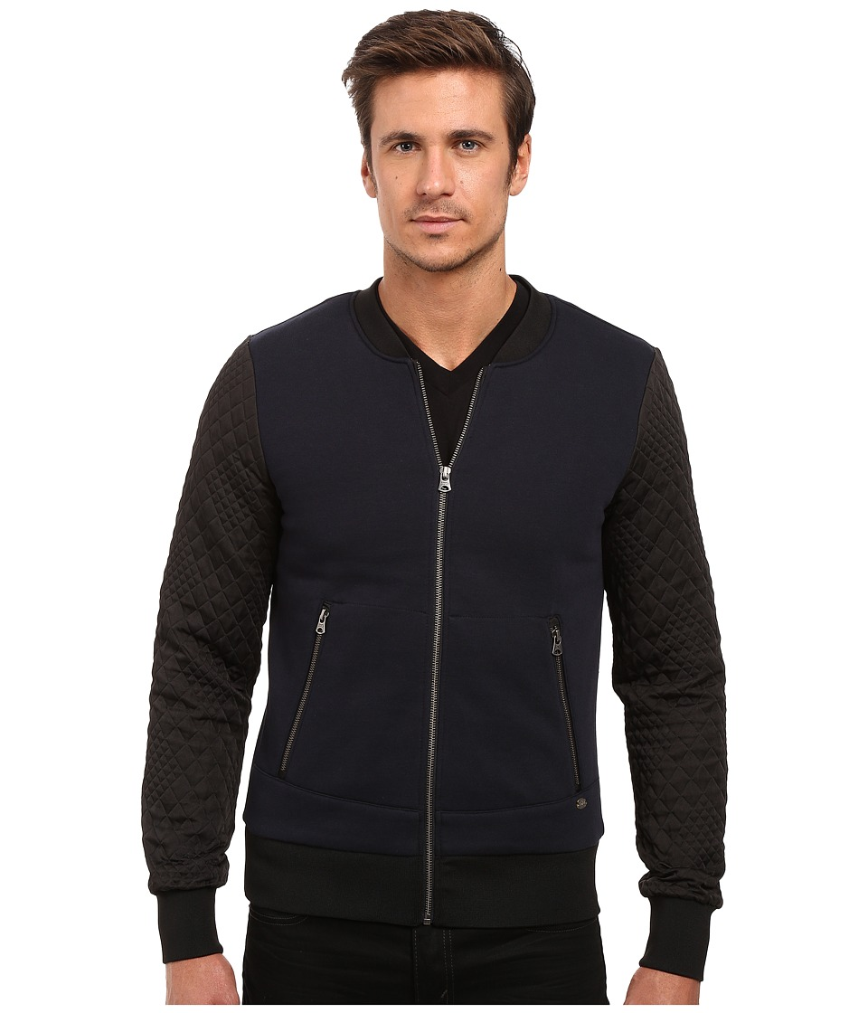Scotch & Soda - Zip Thru Sweater with Jacquard Sleeves (Indigo) Men's Sweater