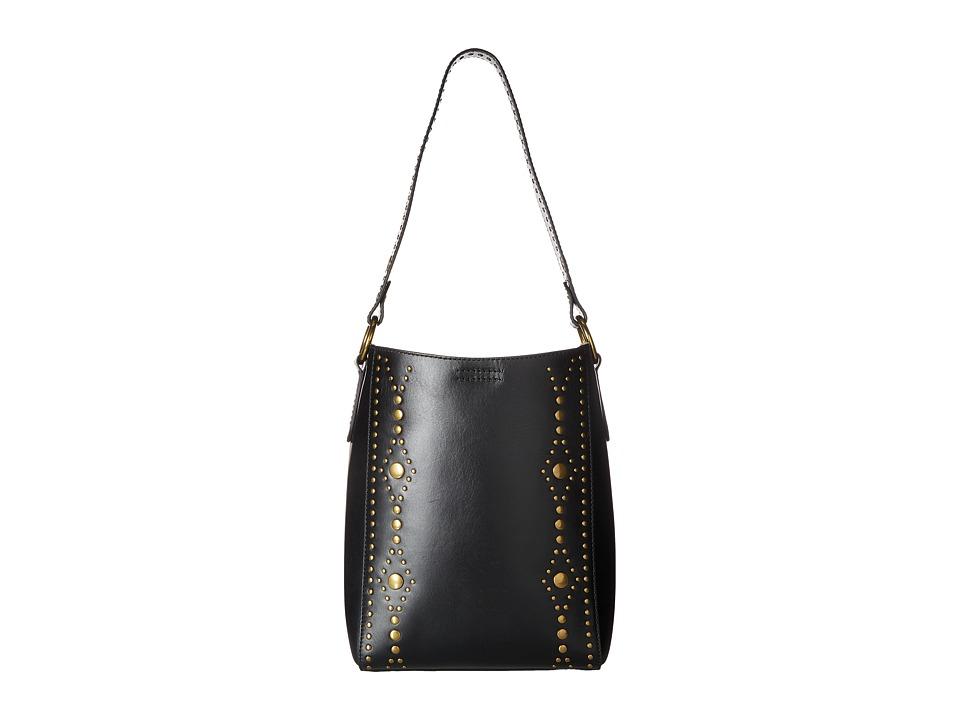 Frye - Harness Stud Bucket (Black Smooth Full Grain) Shoulder Handbags