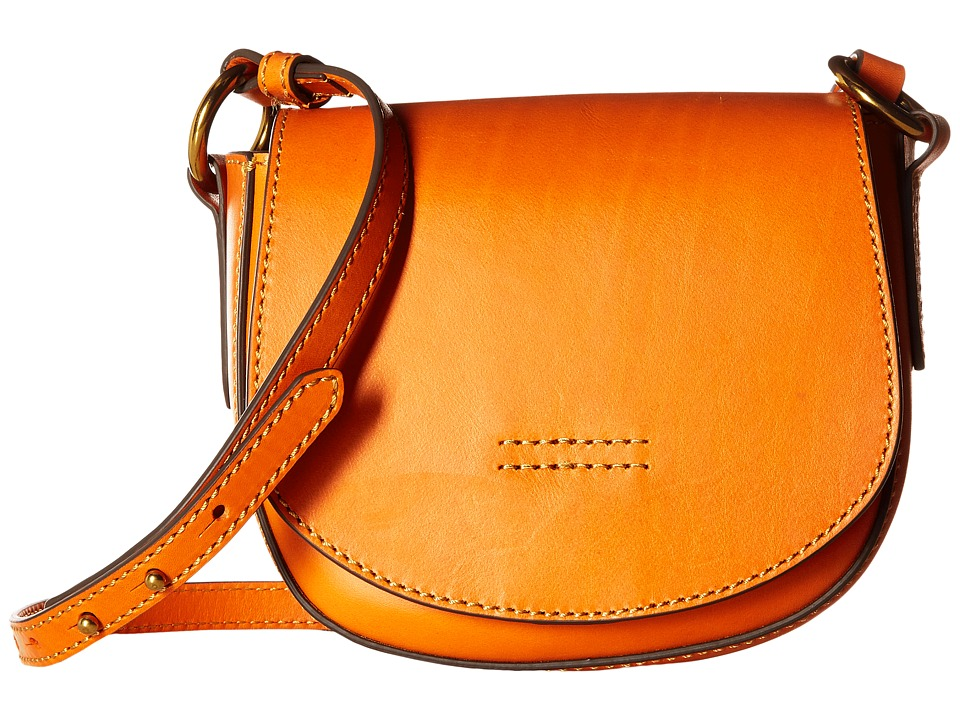 Frye - Harness Small Saddle (Orange Smooth Full Grain) Shoulder Handbags