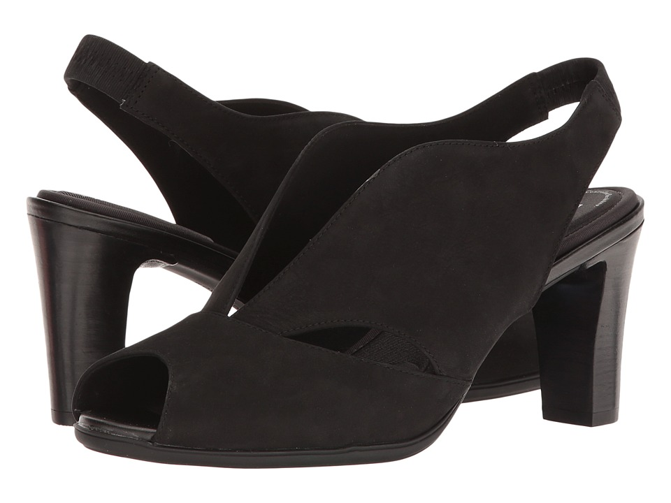 Rockport - Total Motion 75mm V-Sling (Black Nubuck) Women's Shoes