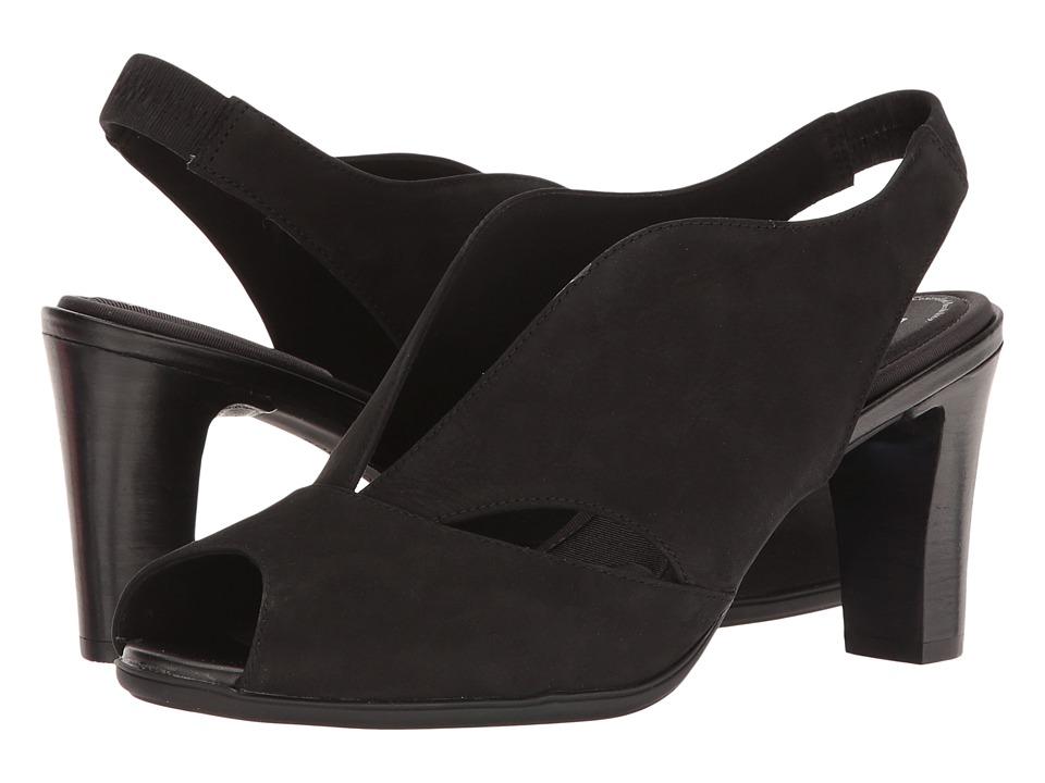 Rockport - Total Motion 75mm V-Sling (Black Nubuck) Women's Shoes