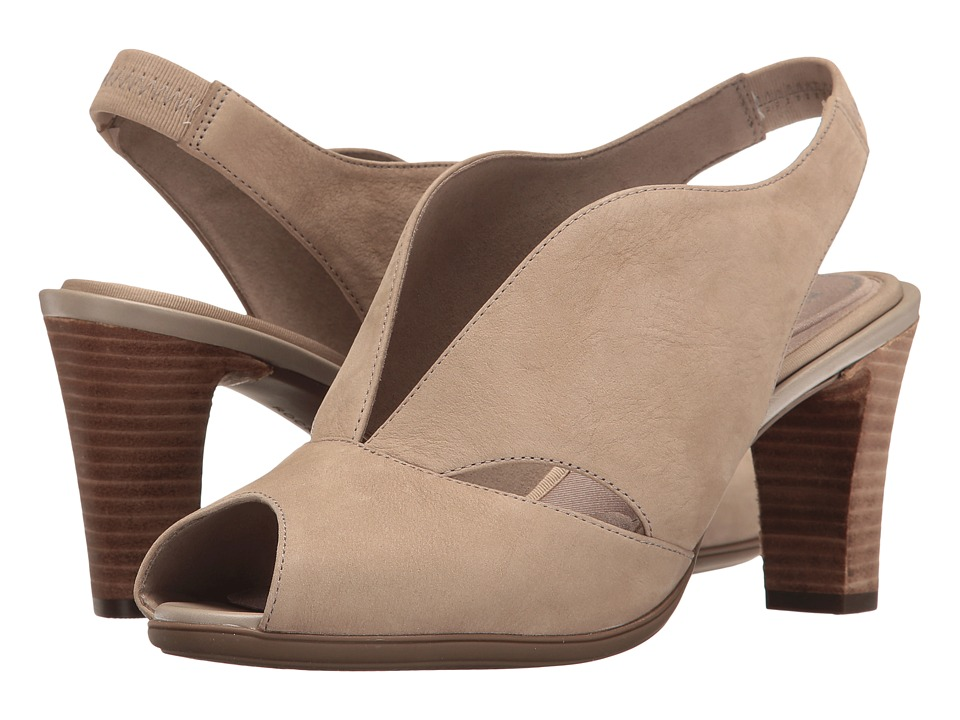 Rockport - Total Motion 75mm V-Sling (Vintage Khaki Nubuck) Women's Shoes