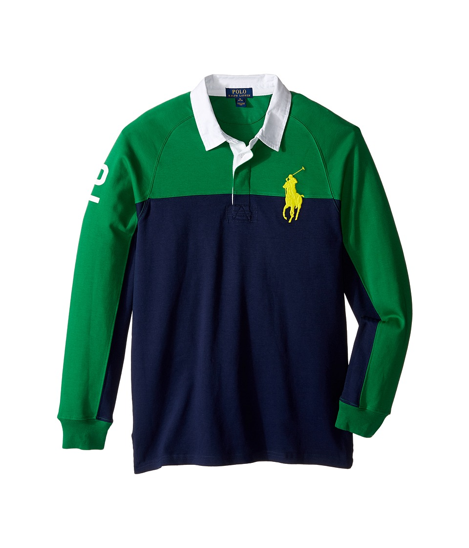 Polo Ralph Lauren Kids - Jersey Raglan Rugby (Big Kids) (Parrot Green) Boy's Long Sleeve Pullover