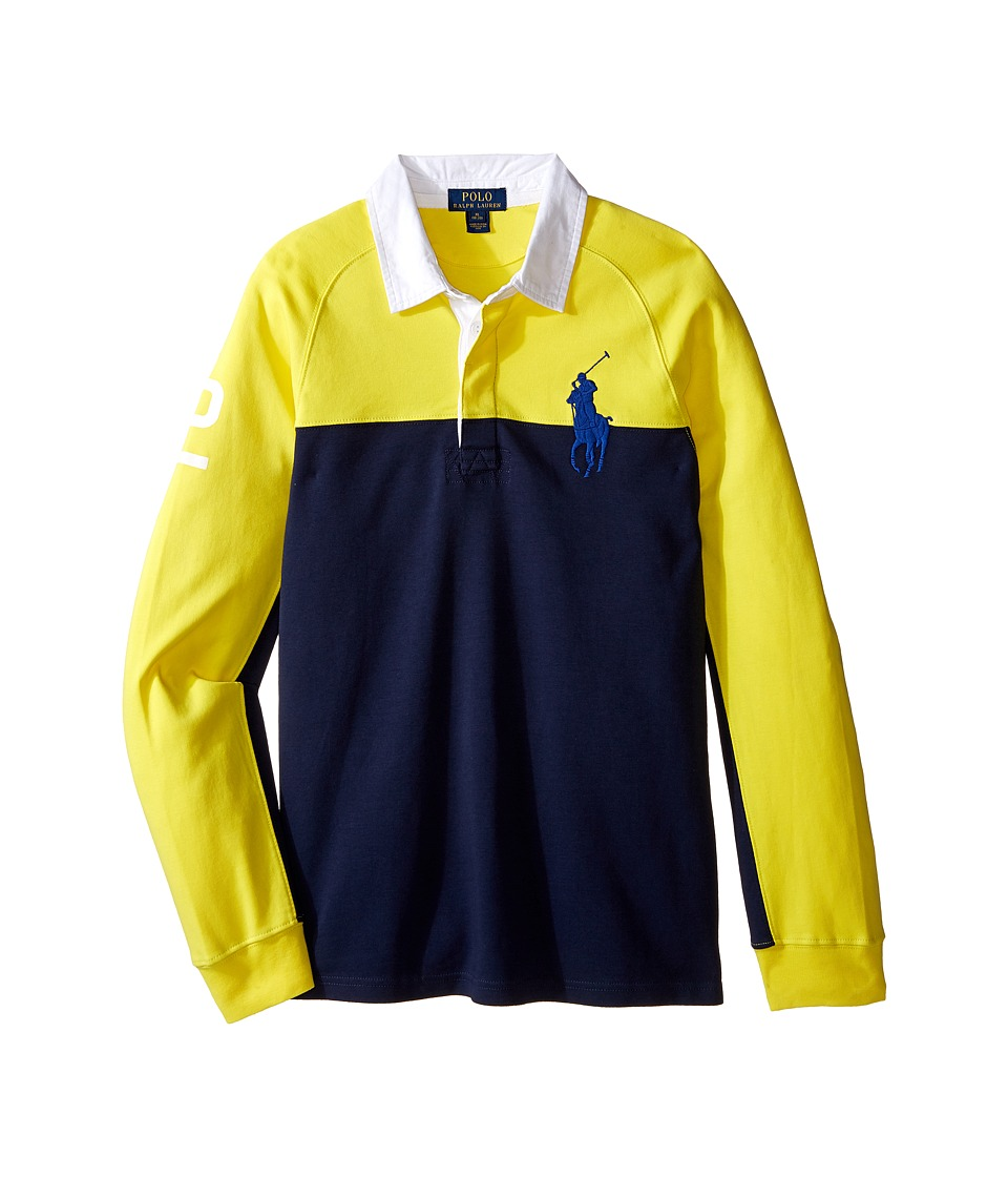 Polo Ralph Lauren Kids - Jersey Raglan Rugby (Big Kids) (Active Yellow) Boy's Long Sleeve Pullover