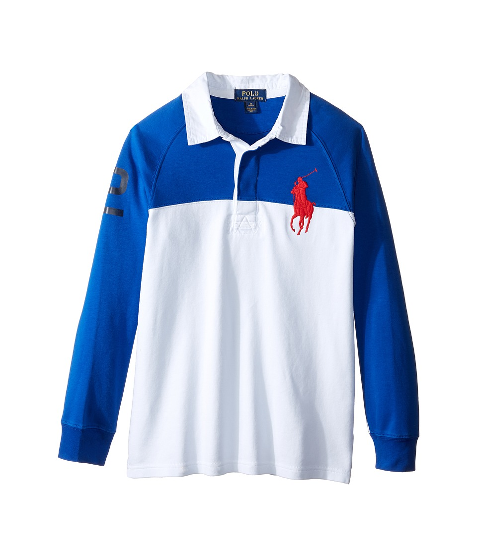 Polo Ralph Lauren Kids - Jersey Raglan Rugby (Big Kids) (Sapphire Star) Boy's Long Sleeve Pullover