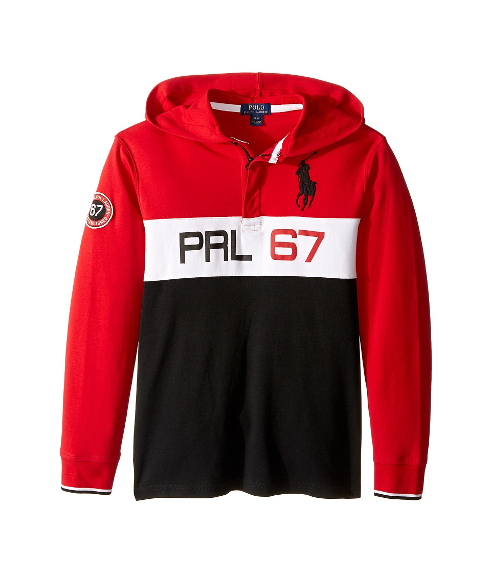 Polo Ralph Lauren Kids - Jersey Long Sleeve Hooded Rugby (Big Kids) (Cruise Red) Boy's Long Sleeve Pullover