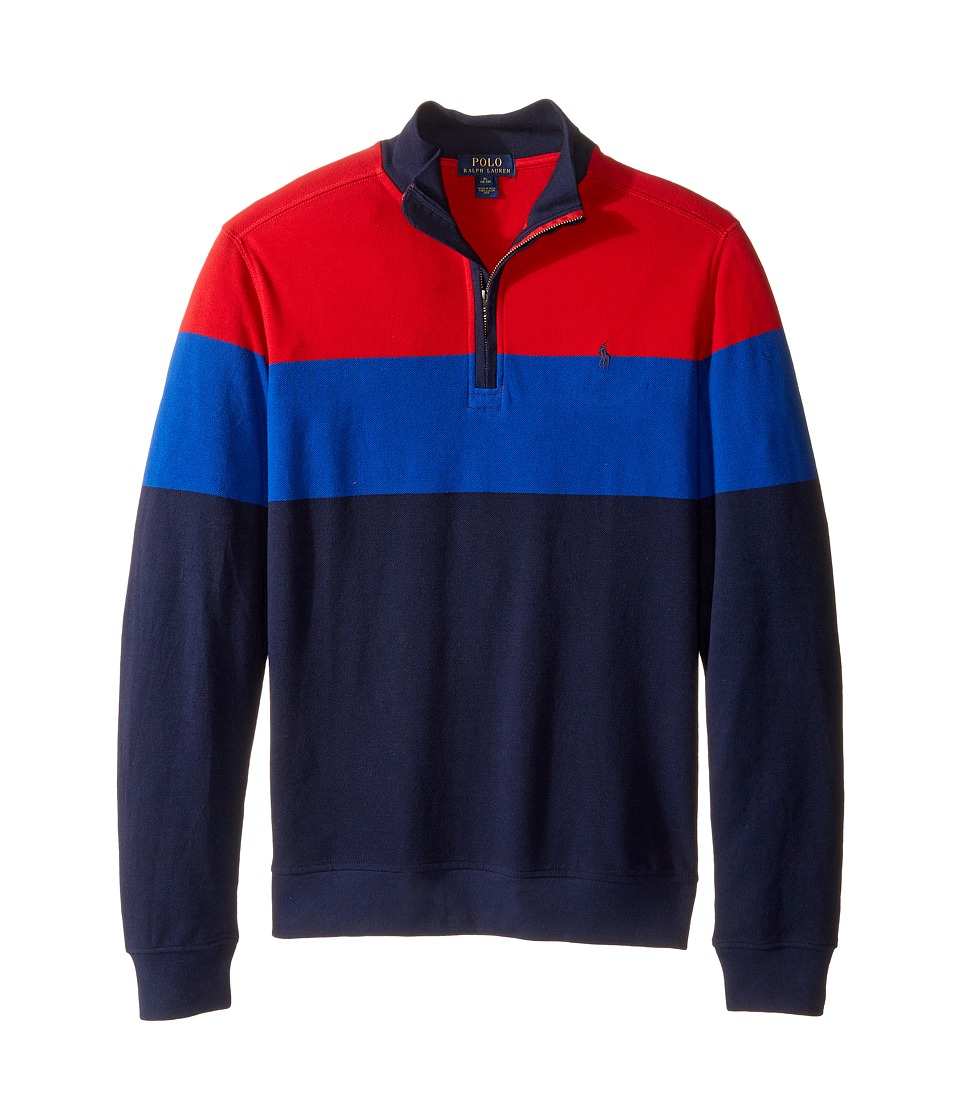 Polo Ralph Lauren Kids - Yarn-Dyed Long Sleeve 1/2 Zip (Big Kids) (Cruise Red) Boy's Sweatshirt
