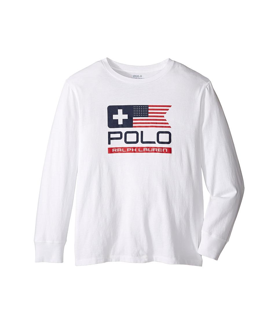 Polo Ralph Lauren Kids - Basic Jersey Graphic T-Shirt (Big Kids) (White) Boy's T Shirt