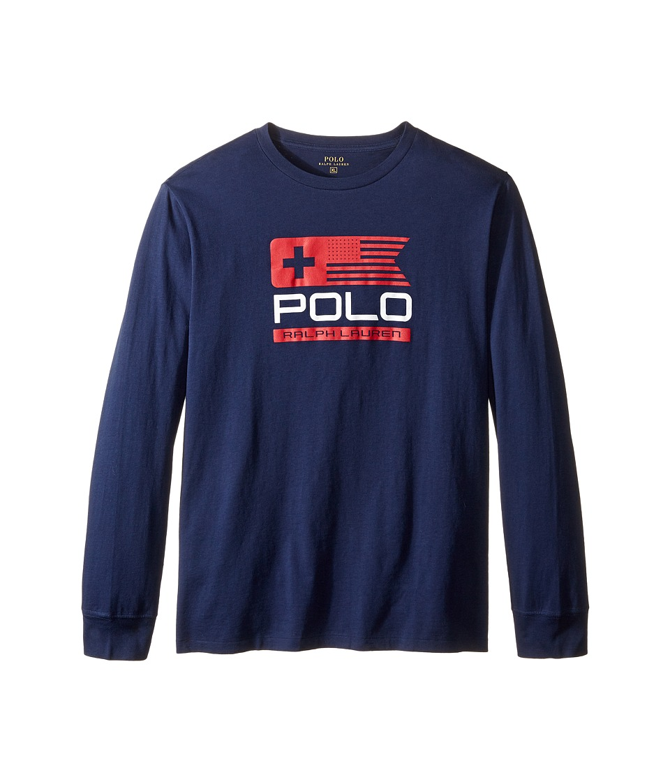 Polo Ralph Lauren Kids - Basic Jersey Graphic T-Shirt (Big Kids) (French Navy) Boy's T Shirt