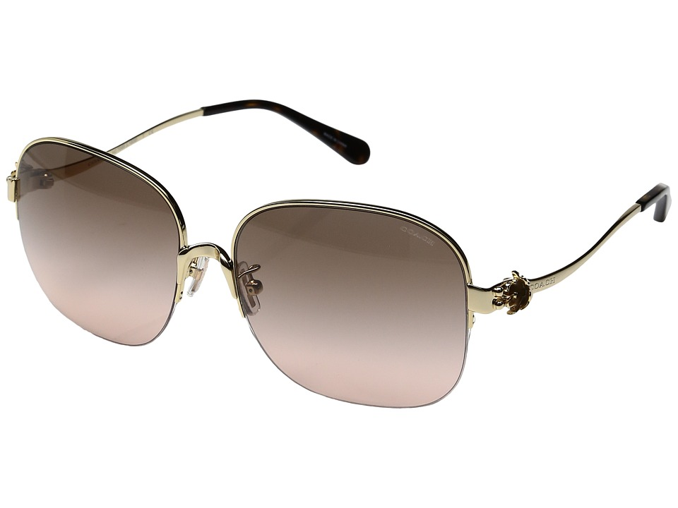 COACH - 0HC7068 58mm (Light Gold/Grey Pink Gradient) Fashion Sunglasses
