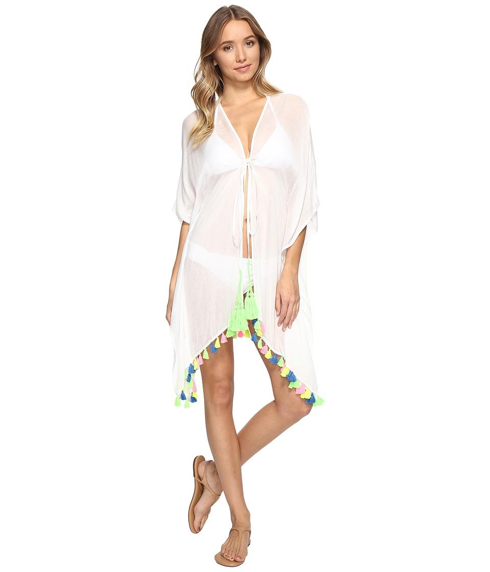 Bindya - Neon Tassel Tie Front Kimono (White) Women's Clothing