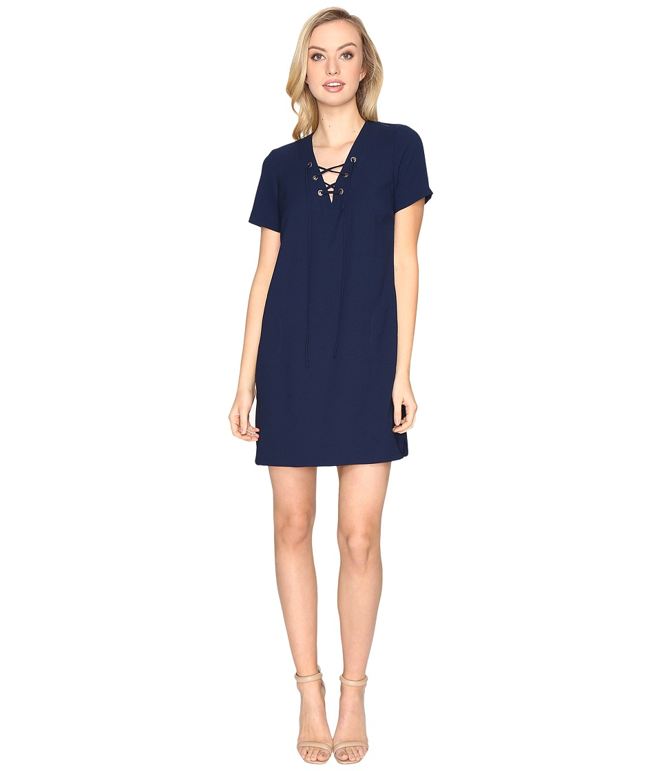 CATHERINE Catherine Malandrino Short Sleeve Lace-Up Dress (Georgian Navy) Women