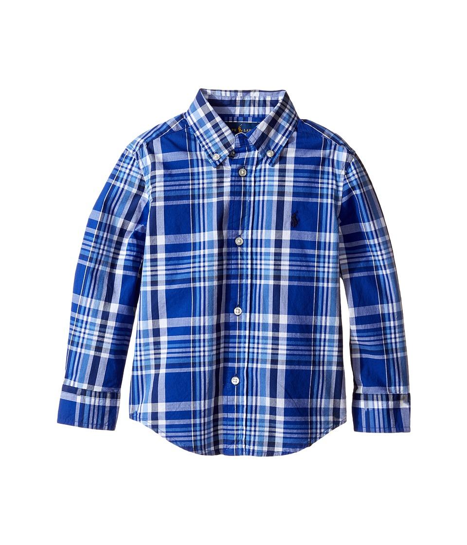 Polo Ralph Lauren Kids - Yarn-Dyed Poplin Long Sleeve Shirt (Toddler) (White Multi) Boy's Long Sleeve Button Up