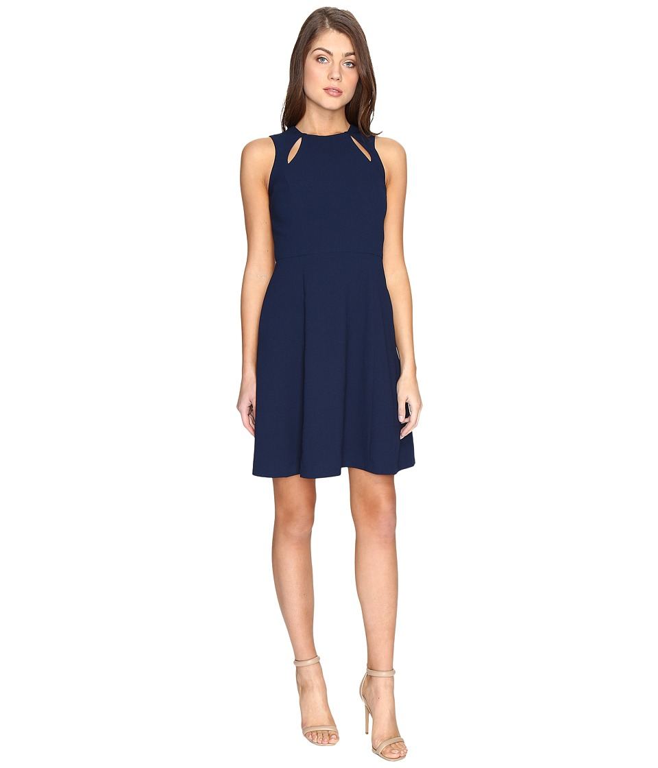 CATHERINE Catherine Malandrino Sleeveless Fit Flare with Cut Out (Georgian Navy) Women