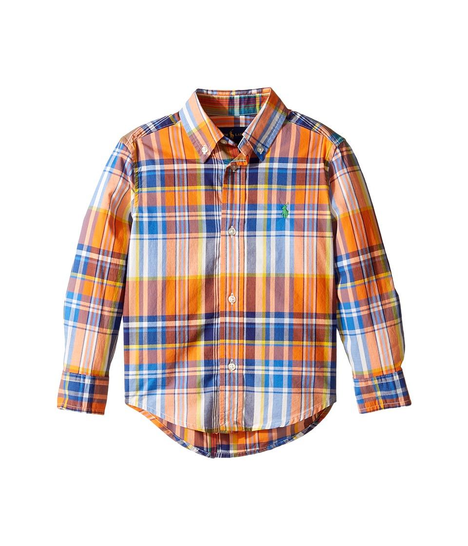 Polo Ralph Lauren Kids - Yarn-Dyed Poplin Long Sleeve Shirt (Toddler) (Orange Multi) Boy's Long Sleeve Button Up