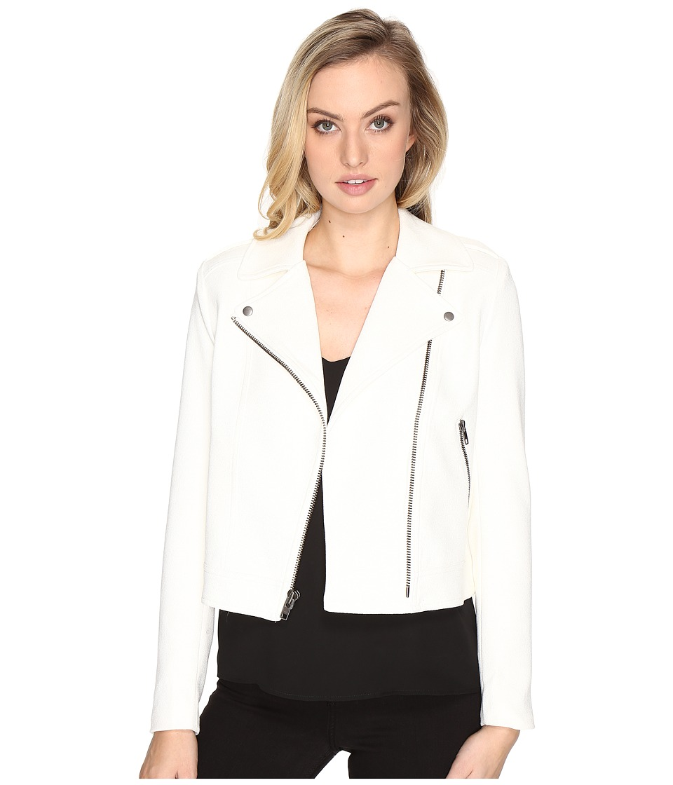 CATHERINE Catherine Malandrino - Crepe Moto Jacket (White Star) Women's Coat