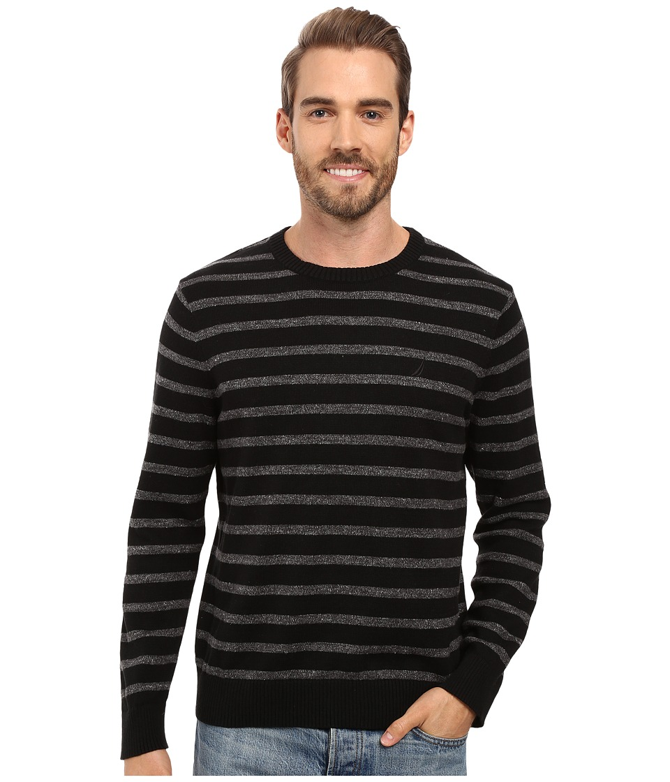 Nautica - 9 Gauge Striped Crew (True Black) Men's Sweater