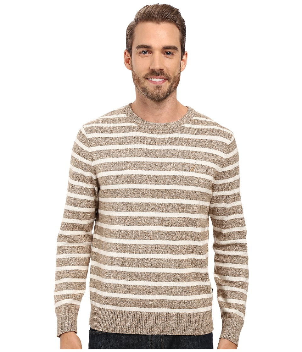 Nautica - 9 Gauge Striped Crew (Wood Drift Flux) Men's Sweater