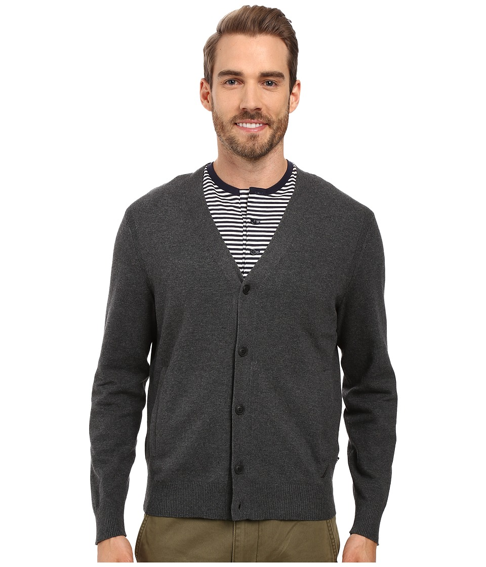 Nautica - 12 Gauge Jersey Cardigan (Charcoal Heather) Men's Sweater