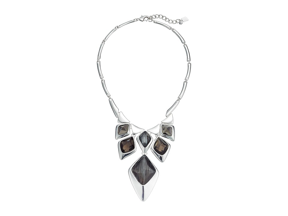 Robert Lee Morris - Grey Silver Stone Bib Necklace (Grey) Necklace