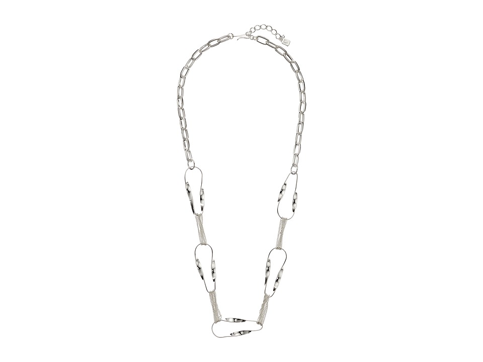 Robert Lee Morris - Grey Silver Long Link Necklace (Grey) Necklace