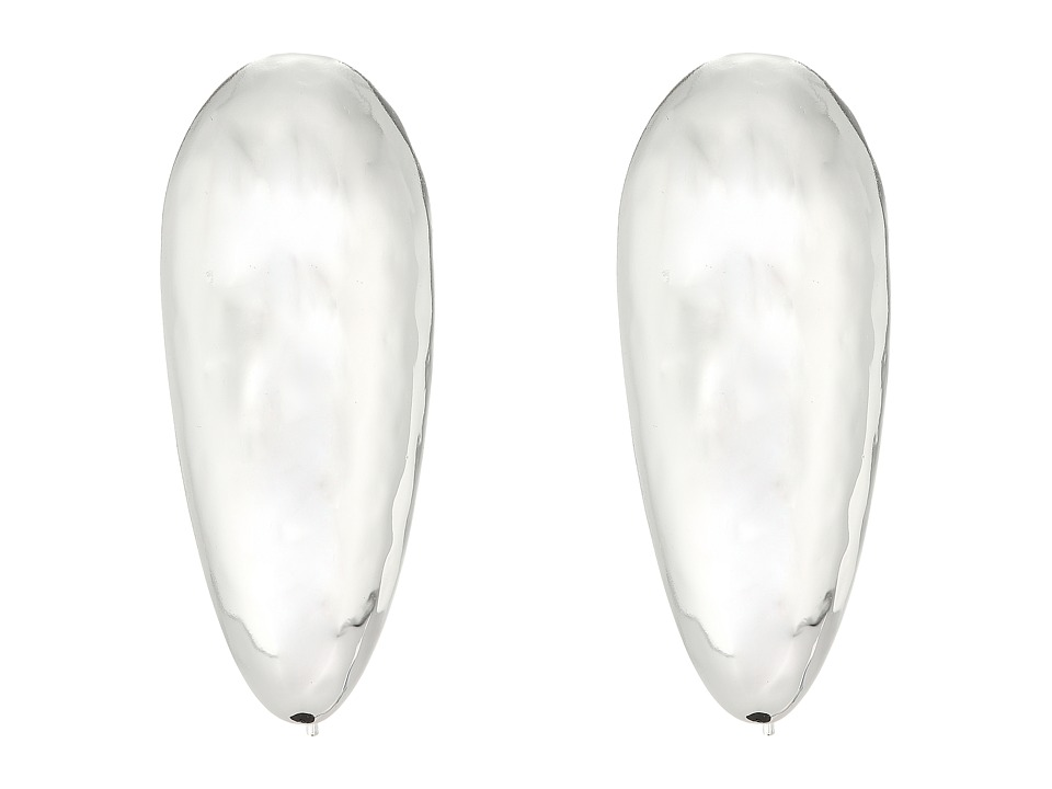 Robert Lee Morris - Silver Large Tear Drop Shepherd's Hook Earrings (Shiny Silver) Earring