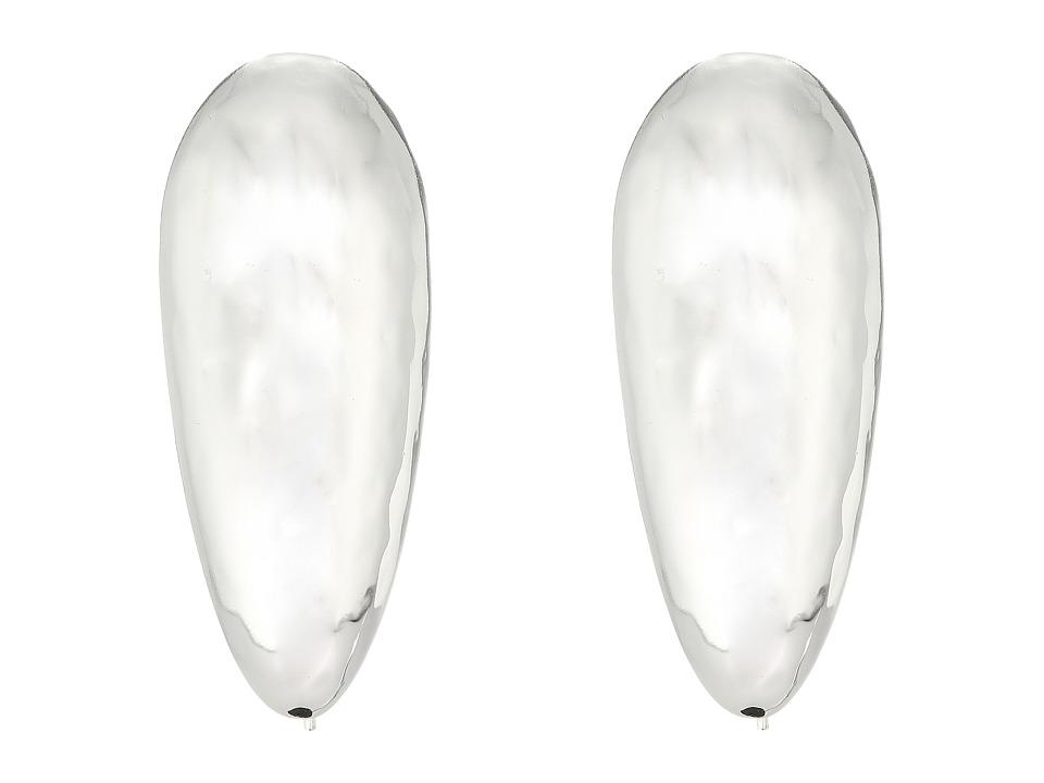 Robert Lee Morris - Silver Large Tear Drop Shepherd's Hook Earrings (Shiny Silver) Earring