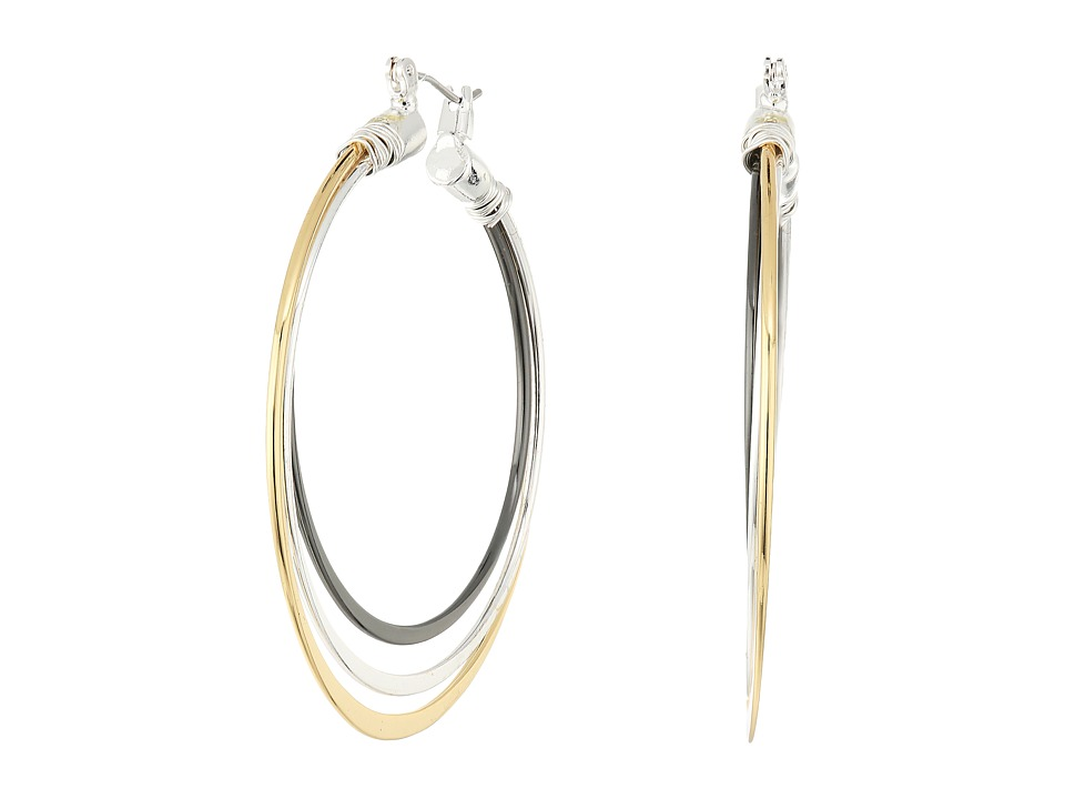Robert Lee Morris - Tri-Tone 3 Row Hoop Earrings (Tri-Tone) Earring