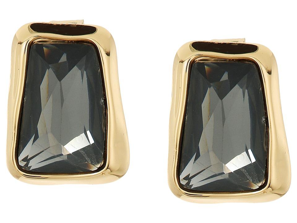 Robert Lee Morris - Black Diamond Gold Stone Stud Earrings (Black Diamond) Earring