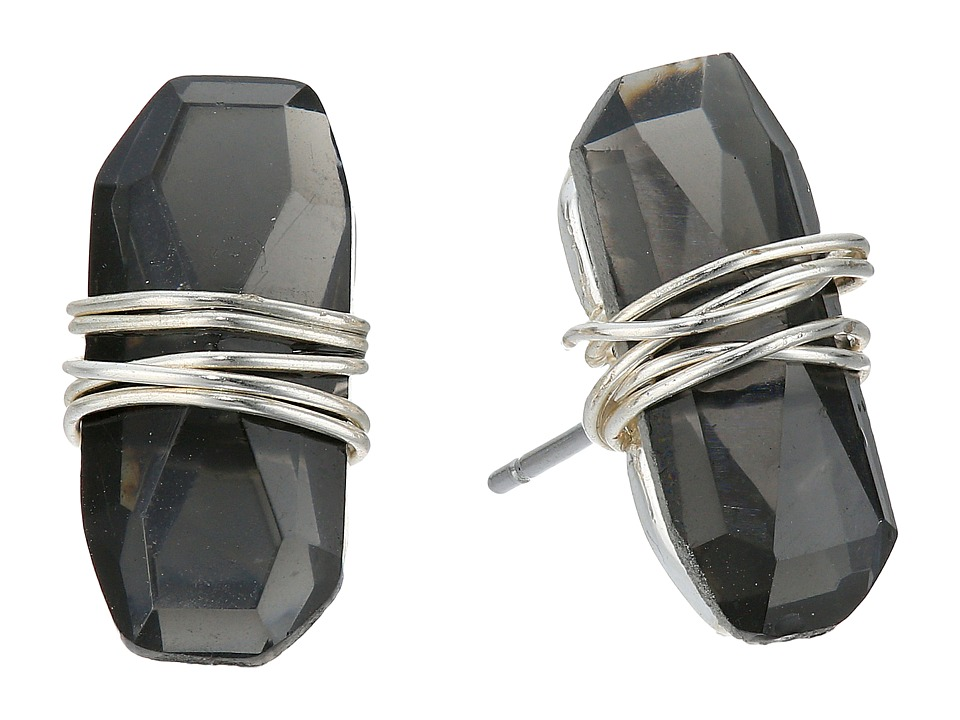 Robert Lee Morris - Black Diamond Silver Wire Wrapped Stud Earrings (Black Diamond) Earring